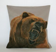 Decorative Pillow Cover Bear Pillow Animal by FennekArtDesign