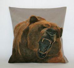 Decorative Pillow Cover Bear Pillow Animal by FennekArtDesign