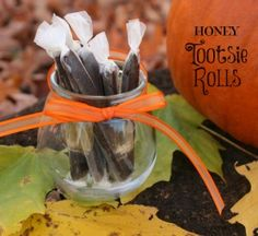 Homemade Tootsie Rolls made with honey, coconut oil & cocoa powder.