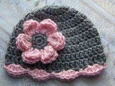 Crochet Baby Girl Hat Newborn Baby Girl Hat by crochethatsbyjoyce