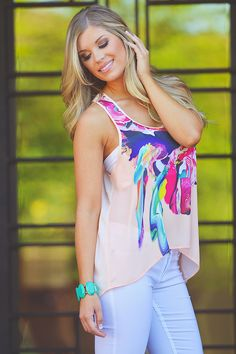 A Passion For Abstract Tank - Peach from Closet Candy Boutique