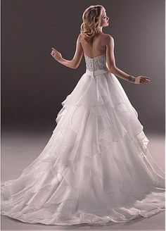 Charming Satin & Organza Satin A-line Sweetheart Neck Raised Waistline Wedding Dress