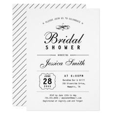 Elegant Black & White Bridal Shower Invitation - elegant gifts gift ideas custom presents