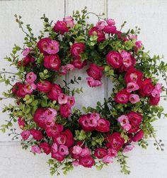 Gorgeous Pink Ranunculus Wreath Summer wreath by WaysideFlorals