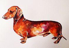 Basset Dachshund, Dachshund Tattoo, Dachshund Art, Daschund, Quilled Creations, Weenie Dogs, Watercolor Animals, Terrier, Animal Paintings