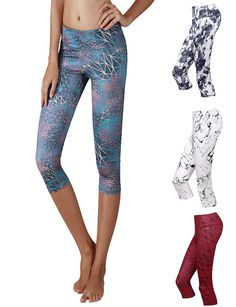 Yoga Reflex Women's Yoga Capris Printed Fitness Yoga Capri Hidden ...