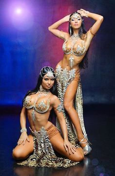 Tiger print belly dance costumes.