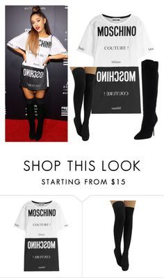"""""""Bez naslova #1457"""" by selia-101 ❤ liked on Polyvore featuring Moschino, Jimmy Choo, women's clothing, women, female, woman, misses and juniors"""