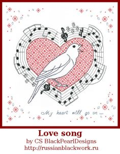 Blackwork embroidery kit Love song from the by RussianBlackwork, $25.00