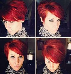 10 Chic and Showy Red Pixie Hairstyles: #5. Layered Long Pixie Red Hair