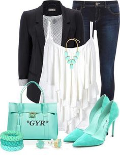 Turquoise, white, and denim - could switch out shoes for a more casual look too. Diva Fashion, Cute Fashion, Look Fashion, Fashion Outfits, Womens Fashion, Fashion Trends, Pretty Outfits, Cool Outfits, Casual Outfits