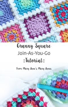 Granny Square Join-As-You-Go ::Tutorial:: from Mary Jane's Mary Janes