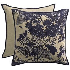 Florence Broadhurst - Shadow Floral Navy Cushion | Peter's of Kensington
