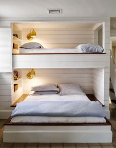 Smart space saving design. Great idea to add beds on top of each other if there is not a lot of space.