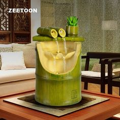 Resin Bamboo Water cycle Fountain Office LED Light Desktop Micro-landscape Feng Shui Lucky Home Decor Wedding Gifts Bamboo Art, Bamboo Crafts, Bamboo Garden, Bamboo Ideas, Bamboo Water Fountain, Indoor Water Fountains, Indoor Fountain, Feng Shui, Bamboo House Design
