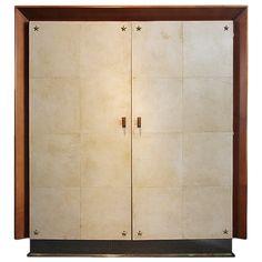 Wonderful Large Art Deco 1940 Parchment Armoire