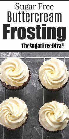 Sugar Free Buttercream Frosting, this recipe for sugar free buttercream frosting is delicious and also low in carbs and keto friendly Keto Cupcakes, Sugar Free Cupcakes, Sugar Free Frosting, Sugar Free Deserts, Best Buttercream Frosting, Sugar Free Baking, Sugar Free Recipes, Cupcake Recipes, Dessert Recipes