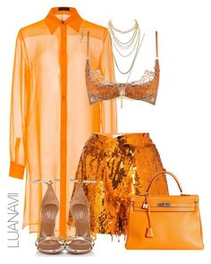 A fashion look from July 2017 featuring chiffon tops, metallic shorts and lingerie bra. Browse and shop related looks. Polyvore Outfits, Boujee Outfits, Classy Outfits, Stylish Outfits, Fashion Killa, Look Fashion, High Fashion, Womens Fashion, Fashion Trends