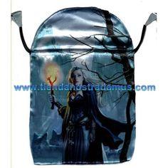 Preciosa bolsa de Raso, para guardar las cartas del tarot, basada en el Witches tarot, o tarot de las brujas de Barbara Moore, con las ilustracions de Mark Evans