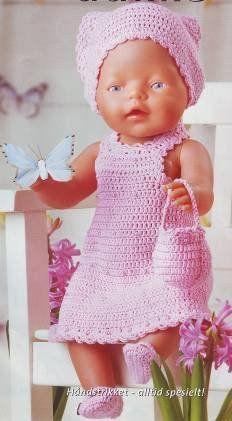071-Gehaakt roze se… Baby Knitting Patterns, Baby Patterns, Doll Patterns, Crochet Patterns, Crochet Doll Clothes, Crochet Dolls, Girl Dolls, Baby Dolls, Baby Born Kleidung