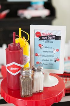 Condiments from a Retro Soda Shoppe Birthday Party via Kara's Party Ideas - The Place for All Things Party! KarasPartyIdeas.com (29)