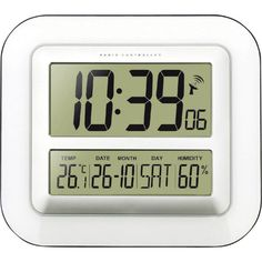 Wave Bedside Alarm Clock with Thermometer, Hygrometer and Automatic Calendar, Includes a Stand for Wall or Desk Placement Small Clock, Digital Alarm Clock, Seiko, Bedside, Calendar, Waves, Technology, Clocks, Products