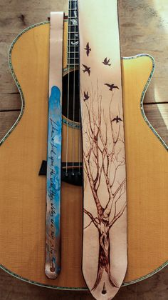 Tree and birds guitar strap | Linny Kenney Leather
