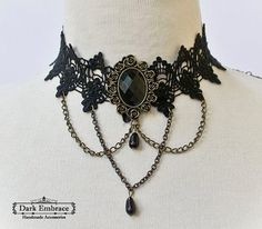 Black lace choker decorated with bronze chain,black beads and bronze framed onyx gemstone cabochon -gothic choker-choker-victorian choker