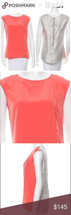 """NWT Sachin + Babi Top - Sz 4/S - Retail $275 NWT Sachin + Babi canteloupe and silver sleeveless Preston top with scoop neck, pleating at front and exposed back zip closure. New with tags. Pristine. Measurements: Bust 34"""", Waist 33"""", Length 26"""". Material: 100% Polyester. Size Small/4. Retail $275. Sachin + Babi Tops Blouses"""
