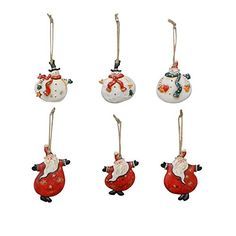 YK Decor 6 Assorted Christmas Wood and Resin Dancing Santa and Snowman Ornaments -- Details can be found by clicking on the image.