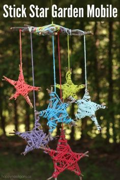 With sticks from the garden and scraps of yarn, kids can make this colourful star-stick mobile to hang from your porch, patio or a tree in your backyard.