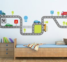 A lovely and colourful car wall sticker illustrating a flow of traffic with various vehicles on the road. Great children's decal! Decorate your children's bedroom or play area with this brilliant design that the little ones will love. #Cars #Boys #Bedroom