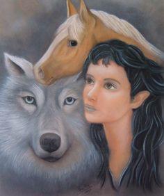 Dyreah y Ravnya, de Beatriz Peralta.  Pintura realizada para Naamari, segundo volumen de la novela de fantasía épica Ojos de Jade, de F. J. Sanz  http://www.fjsanz.com