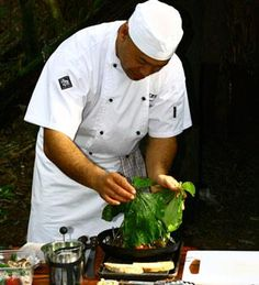 #TreetopsLodge chef preparing lunch with fresh produce from the vegetable garden