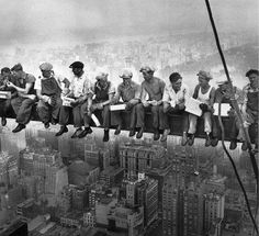 """""""Lunch atop a Skyscraper"""" is a world famous photo, made during the construction of the GE Building in the Rockefeller Center on September 29, 1932."""