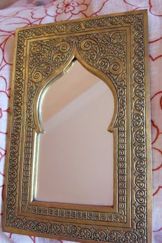 Moroccan Mirror In Brass Coloured Frame The Frame Has A