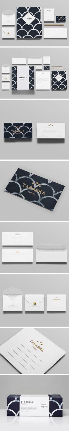 Tabarka Studio. The brand pattern is really simple and works well with the logo, the way it has been applied to elements is effective.: