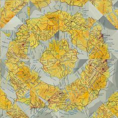 "P,E,T,E,R,W,E,G,N,E,R, /works/collage/ REVERSE ATLAS VIII  (from the series REVERSE ATLAS)  pigment print  38"" x 38"" x 1""  Los Angeles CA  2009"