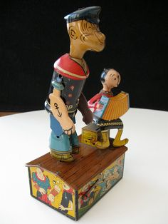 Marx Popeye and Olive Oyl Jiggers metal lithographed windup toy