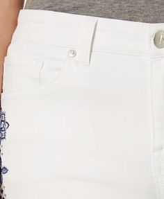 Style & Co Petite Embroidered Boyfriend Crop Jeans, Created for Macy's - White 12P