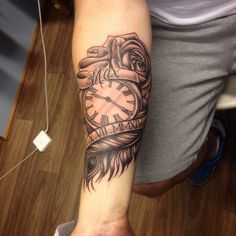 Pocket watch, feather and rose tattoo by Sammy
