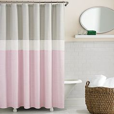 pink grey shower curtain. perfect for a pink bathroom  kate spade Spring Street Shower Curtain Grey Multi Bed Bath Beyond Pink Organic Horizontal Stripe Stripes Showers