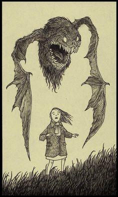 Image of batball Creepy Drawings, Dark Art Drawings, Creepy Art, Pencil Art Drawings, Beautiful Drawings, Art Sketches, Monster Drawing, Monster Art, Arte Horror