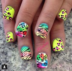 Colorful animal print acrylic nails ❤️ love love love these