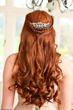 Like this long red hair. 33 Gorgeous Bridal Hairstyles Ideas