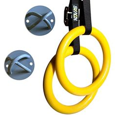 Gymnastic Rings Olympic Home Gym Equipment  Full Body Strength and Muscular Bodyweight Training  Adjustable Straps and Mounting Hooks Included >>> Click on the image for additional details. (This is an affiliate link)