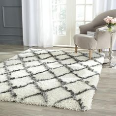 Safavieh Moroccan Shag Ivory/ Grey Trellis Rug ($240) ❤ liked on Polyvore featuring home, rugs, beige, gray rug, non skid rug pad, diamond rug, cream colored area rugs and safavieh area rugs