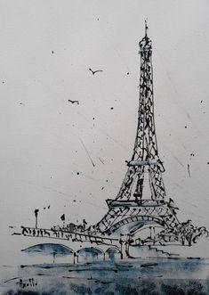 En ce moment aux enchères #Catawiki: Axelle Bosler - Paris Tour Eiffel Bord de Seine