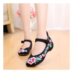 Old Beijing Cloth Shoes National Style Embroidered Shoes Square Dance Shoes Slipsole Increased within Woman Shoes Cowhell Sole Shoes black
