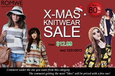 "Xmas knitwear sale! Up to 80% off! Starting from $12.99! Until the end of the month! Comment under the product and try to get as more likes as you can! The comment which gets the most ""likes"" will be prized with a free one as gift! Already started! Don't miss, girls!  -----------------------  Super Promoção #Romwe - Até 80 % de desconto! Peças a partir de $12,99! Até 31/12/13!"